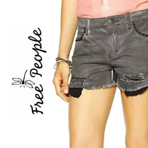 Free people gray distressed frayed cut off shorts